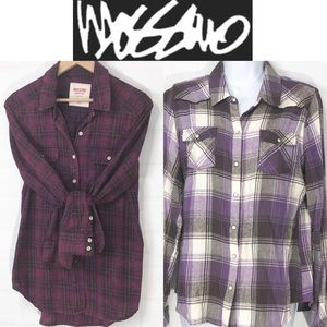 Mossimo Flannel Shirt 2 Pack pink Purple Black M/L
